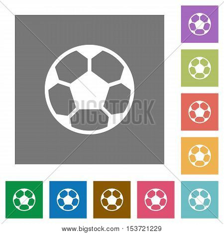 Soccer ball flat icons on simple color square background.