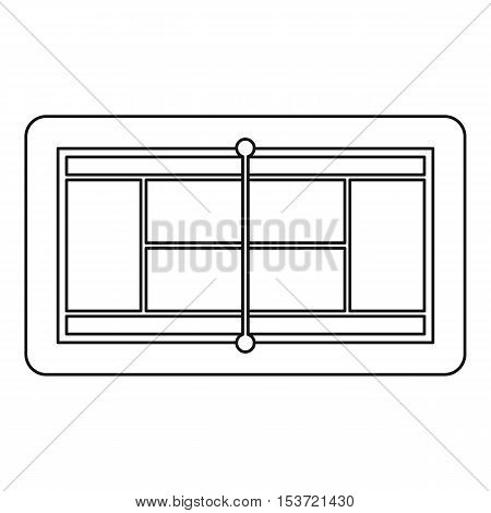 Tennis court icon. Outline illustration of tennis court vector icon for web