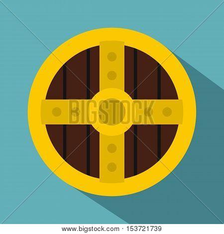 Round protective shield icon. Flat illustration of round protective shield vector icon for web