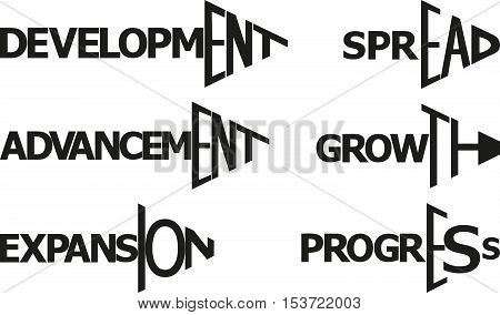 words - development growth expansion progress spread advancement in shape arrow