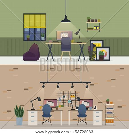Basement office, flat or room workspace interior. Apartment with table and chair, vase with plants and book on bookshelf, monitor with report windows, stickers on wall, lamps. Freelance home job theme