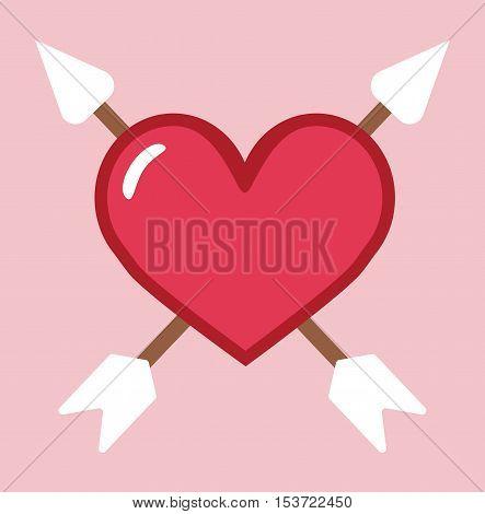 Arrow Through Heart Vector Simple Icon - Heart With Arrow Cartoon Flat Illustration Background Stock