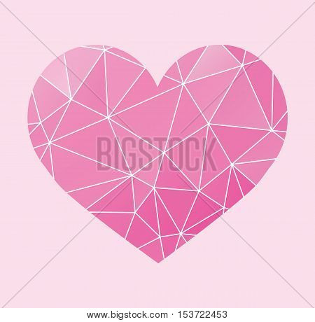 Geometric Heart Vector - Polygon Heart Color Cartoon Flat Pink Illustration Stock