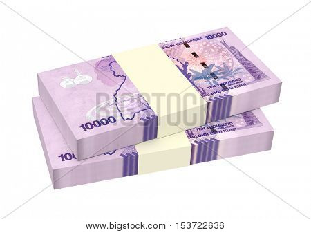 Ugandan shillings bills isolated on white background. 3D illustration.