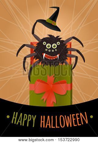 Greeting card, banner or poster for Halloween. Vector illustration scary spider in a gift box.