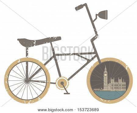 Vector illustration of Symbol Bicycle Modern Travel and Healthy Lifestyle. Vector illustration of the Great Bell, of the clock at the north and of the Palace of Westminster.