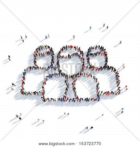 Large and creative group of people gathered together in the shape of a group of people. 3D illustration, isolated against a white background. 3D-rendering.