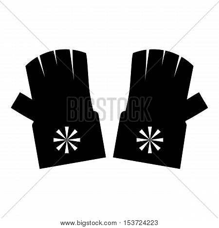 Fingerless gloves with snowflake icon. Simple illustration of fingerless gloves vector icon for web