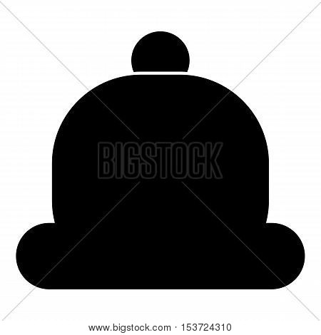 Hat with pompom icon. Simple illustration of hat with pompom vector icon for web