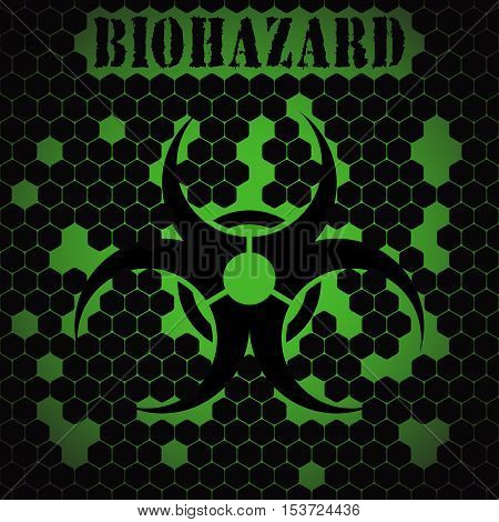 Vector abstract dark green background with black biohazard symbol silhouette and text.