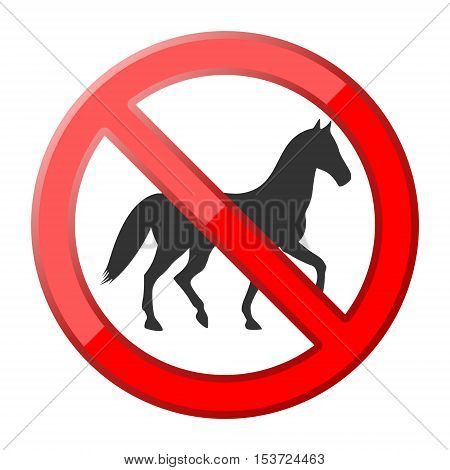 Red No horse traffic sign on white background
