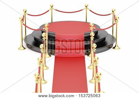 Empty black podium with red carpet and barrier rope 3D rendering isolated on white background