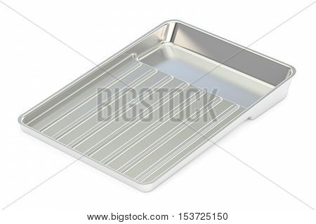 Medical metallic tray 3D rendering isolated on white background