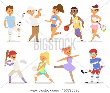 Various sports people basketball running happy character. Isolated on white background sport people adult male exercise. competition set group fitness girl sport people runner training.