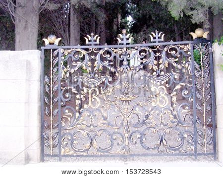 Grille gate in Bahai Gardens in Haifa August 20 2003