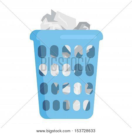 Trash bin garbage container and trash bin recycle symbol vector. Full trash bin