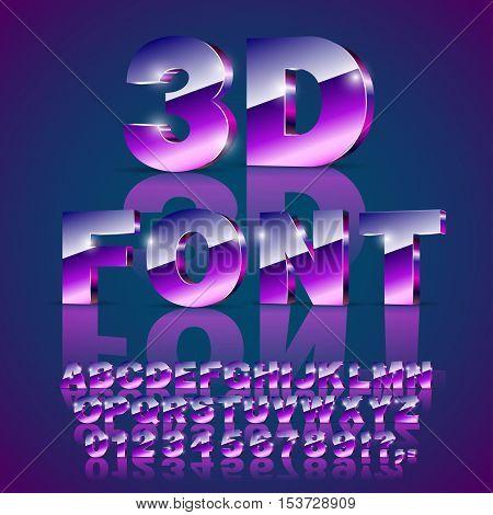 Decorative shine 3d metal style violet bright looks alphabet and number. Vector font set