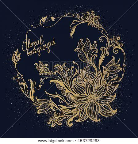 Gold Flower frame. Hand drawn flowers. Vector vintage illustration.  Decorative floral ornament. Vector illustration.