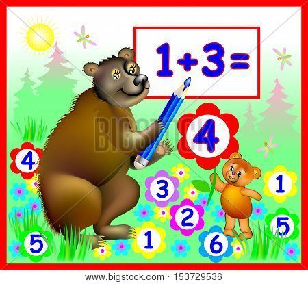 Illustration of bears learning count numbers, vector cartoon image for schoolbook.