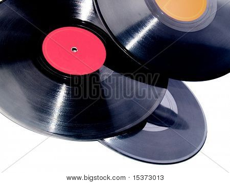 Vinyl records isolated on white