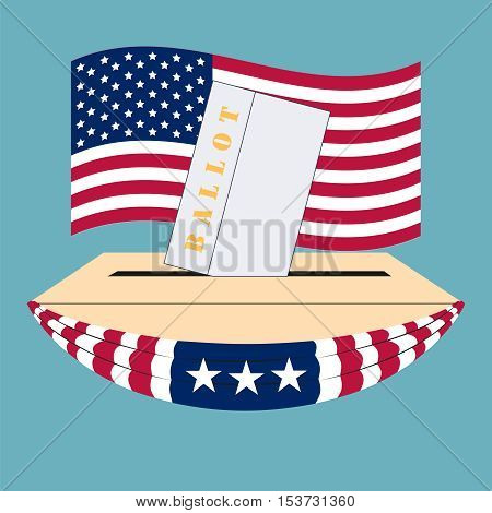 United States of America Election box and ballot, on the background flag US