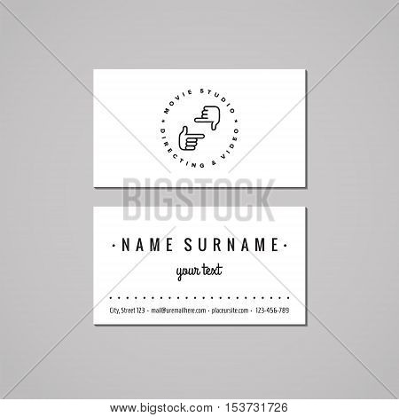 Film, movie and video business card design concept. Logo with hands making frame. Vintage, hipster and retro style.