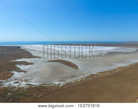 Saline Salt Lake In The Azov Sea Coast. Former Estuary. View From Above. Dry Lake. View Of The Salt