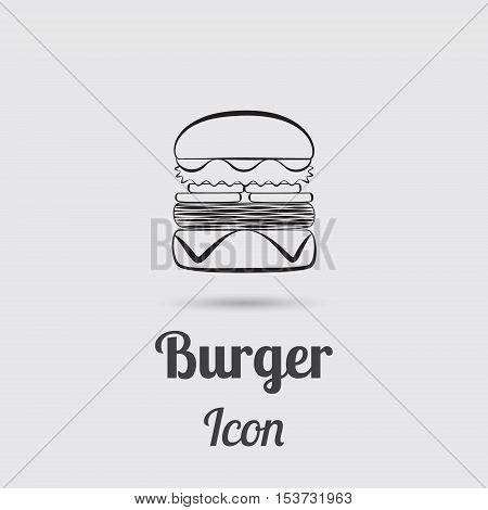Greyscale Icon of Burger Designed in Flat Line Style with Lettering. Vector EPS 10