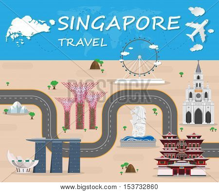 Singapore  Landmark Global Travel And Journey Infographic Vector Design Template.vector Illustration