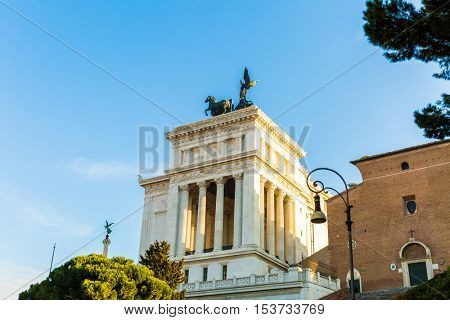 The Altare della Patria (Altar of the fatherland), also known as the Monumento Nazionale a Vittorio Emanuele II or Il Vittoriano