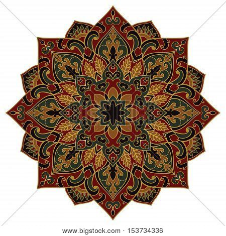 Vector floral mandala. Oriental stylized design element. Symbolic dark ornament.