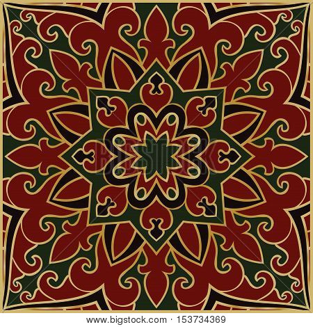Red and green abstract pattern. Oriental ornament. Template for carpet shawl cushion.
