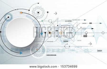 Vector illustration gear wheel, wave lines and circuit board Hi-tech digital technology and engineering, digital telecom technology concept. Abstract futuristic on light blue color background