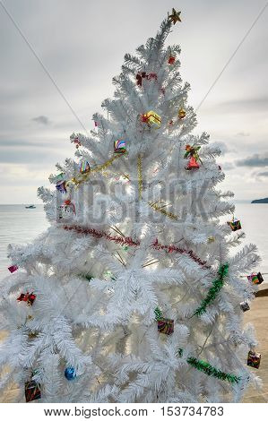 Ao Nang beach Thailand - December 22 2012: Christmas tree in front of Ao Nang beach in Krabi Province southern Thailand