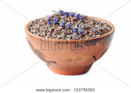 Ceramic bowl of lavander isolated on white