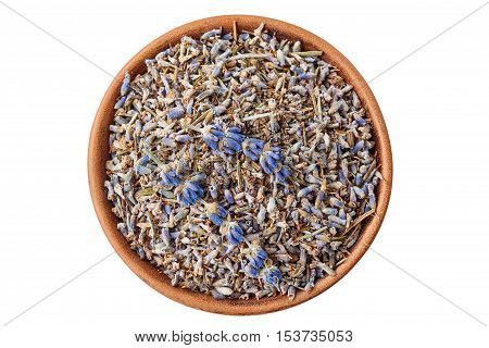 Ceramic bowl of lavander isolated on white. Top view.