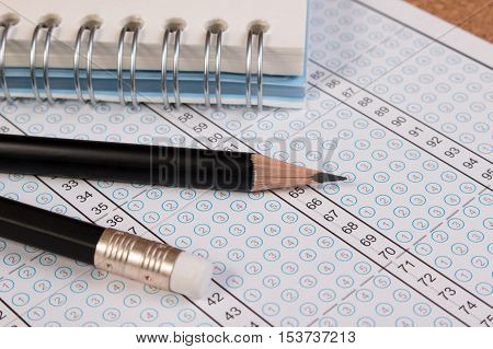 Blank Answer Sheet With 2B Pencil. Answer Sheet For Testing. Standard School Exam Answer Sheet And P