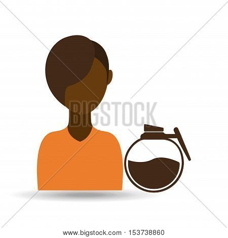 coffee maker girl icon graphic vector illustration