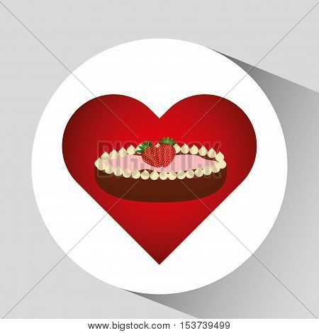 heart cartoon sweet pie strawberry and chocolate icon design vector illustration