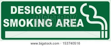 Smoking area sign. Green Sign - Smoker Zone Signage