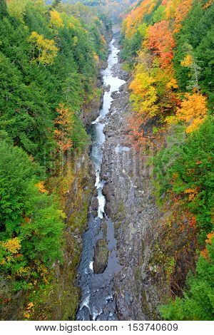 Quechee gorge view in autumn time
