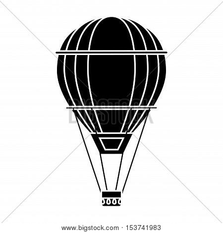 Hot air balloon icon. transportation vehicle travel and trip theme. Isolated and silhouette design. Vector illustration