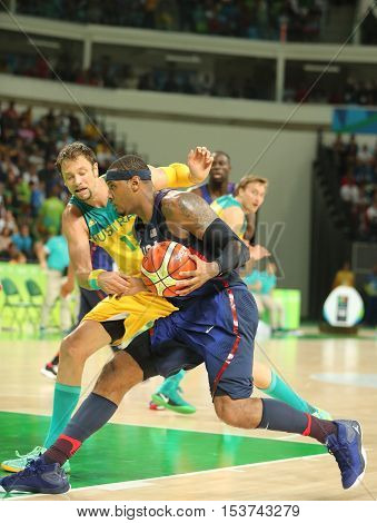 RIO DE JANEIRO, BRAZIL - AUGUST 10, 2016: Olympic champion Carmelo Anthony (number 15) of Team USA in action at group A basketball match between Team USA and Australia of the Rio 2016 Olympic Games