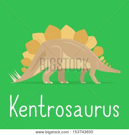 Kentrosaurus dinosaur colorful card for kids playing. Vector illustration