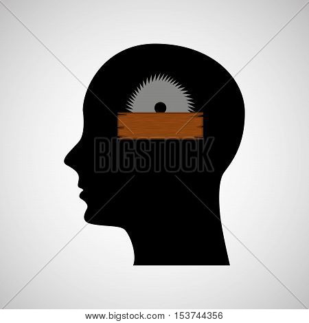 head sihouette sawmill construction vector illustration eps 10