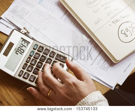 Calculator Calculate Balance Costs Income Budget Concept