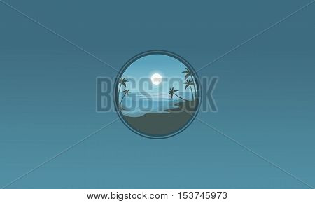 Silhouette of beach style scenery vector illustration