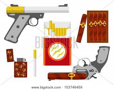Cigarette pistol cigar revolver cigarette pack box of cigars and lighter set. Smoking kill concept. Flat design element. Vector illustration.