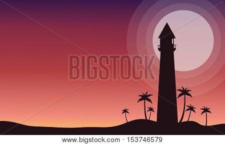 At sunrise lighthouse scenery of silhouette vetcor illustration