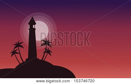 Silhouette of lighthouse on red backgrounds vector illustration